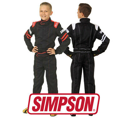 Simpson Youth Legend II Race Suit, SFI 3.2/1 Approved, Black/Red or White, S - L