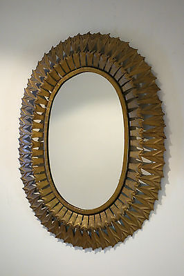 Espejo vintage sol metal 1960s sunburst mirror metal antique sun