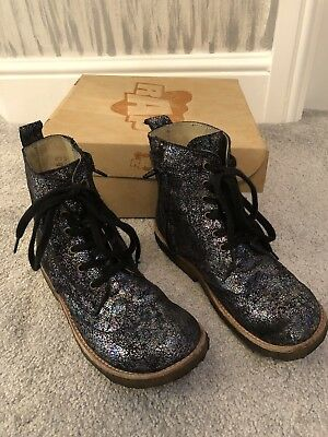 Exc Girls Rap Black Gunmetal Sparkly Multifantasy Lace Up Boots 32 13.5