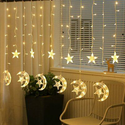2.5M 138 LED String Fairy Lights Star &Moon Curtain Lamps Wedding Party Decor BO