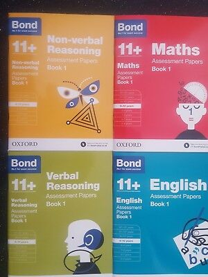 Bond 11 plus Assessment Papers English Maths Verbal Reason 4 Book Set 9-10Year