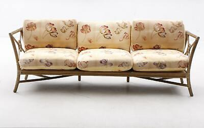 Vintage McGuire Mid-Century Modern Bamboo Target Sofa w Leather Wraps & Cushions