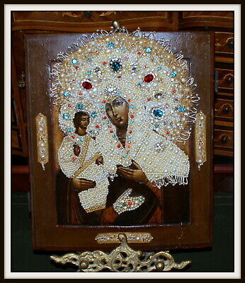 Antique Russian Icon Pearls, Embroidery, Mother of God Three Hands, 19 c