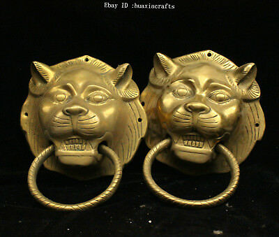 Asian Antiques 20cm China Old Yellow Bronze Handmade Animal Sculpture Beast Knocker Hqqy