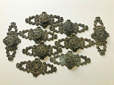 Hyer Drawer Plates Knobs Furniture Hardware French Metal 9 sets Ornate Vintage