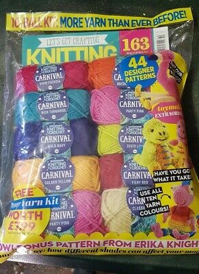 Let's get Crafting magazine Knitting & Crochet #110 2019 + 10 Yarn Balls