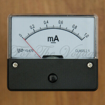 0- 1mA DC Ammeter Amp Current Panel Meter Analogue Analog NEW