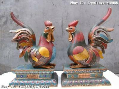 "20""Regius Pure Bronze cloisonne Two Good luck Cock chanticleer rooster Pair"