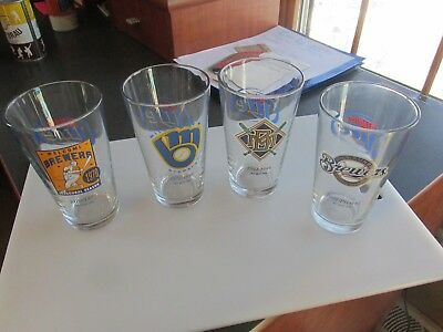 RARE Set Of Four 2008 Miller Lite Brewers Thru Years Logo Glasses EX Condition