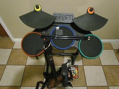 PLAYSTATION 3 WIRELESS DRUMS GUITAR HERO BUNDLE MICROPHONE WORLD TOUR GAMEs PS3