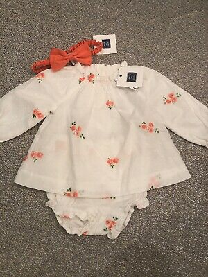 NWT Janie and Jack baby girl 3-piece coral floral corduroy dress SET 0 3 6 9 12