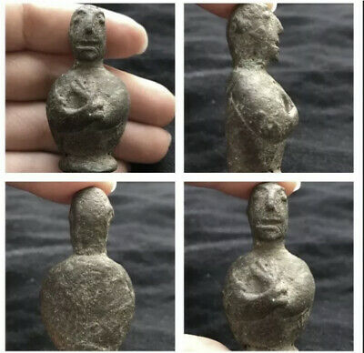 Antique Qulity Very Old Bactrian Empire worship Postion Bronze Idol Figure stat