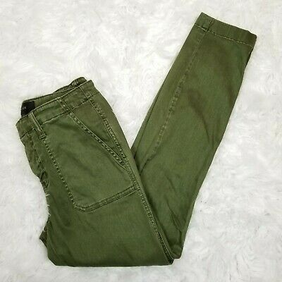 J Crew Jeans Womens Size 25 Skinny Stretch Cargo Pants Olive Green