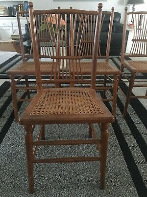 Set Of 4 Antique  Solid Oak High Spindle Back Side Chairs Caned