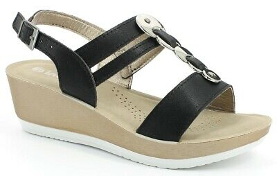 INBLU  scalzati, sandali estive da donna  ART. ER-15  zeppa nero  sandals
