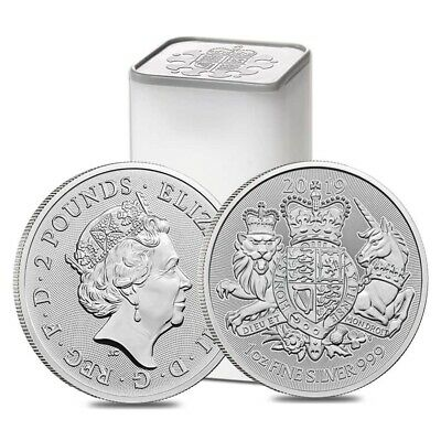 Roll of 25 - 2019 Great Britain 1 oz Silver Royal Arms Coin .999 Fine BU (Tube,