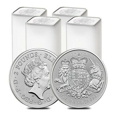 Lot of 100 - 2019 Great Britain 1 oz Silver Royal Arms Coin .999 Fine BU (4