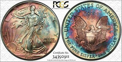 1995 American Silver Eagle Dollar PCGS MS67 Rainbow Color Toning & Aye Appeal