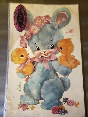 """Large 13"""" Vintage Meyercord NURSERY Decal Bunny & 2 Ducks New Old Stock X 411-A"""