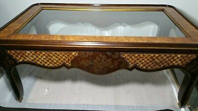 Drexel Heritage Asian Chinoiserie Coffee Table Glass Wood Painted Burl Accent