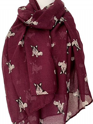 French Bulldog Print Ladies Scarf 3 Colour Choices Great Gift For Frenchie Fans