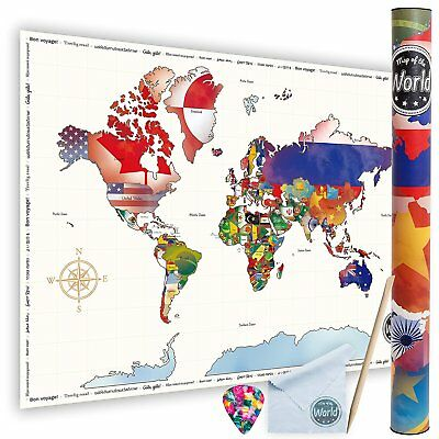 New Scratch Off World Map | Large Size 61 X 85 cm Travel Map