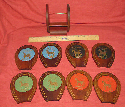 Vintage Wooden COASTERS Complete Set of 8 With Rack THE GOLDEN HORSE INN 1794