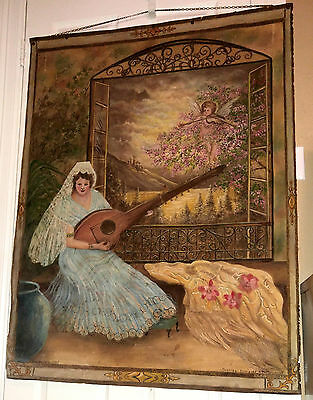 Old Painting on Heavy Tarp Canvas Signed & Dated - Spanish Lady playing Mandolin