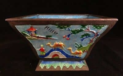 """Antique Chinese Enameled Copper Bowl , Lt. Qing Dyn. Square shape 4 1/8"""" x 2"""""""