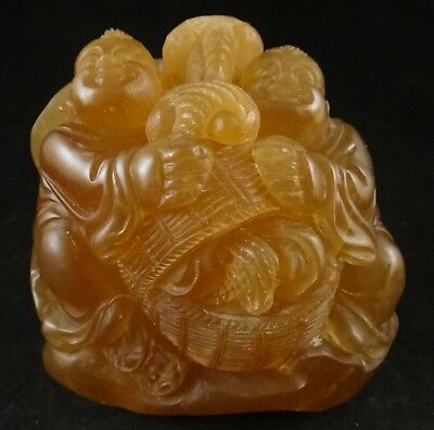 Rare Antique Chinese carved Agate of Boys w/Basket of Lingzhi Fungus. 19th