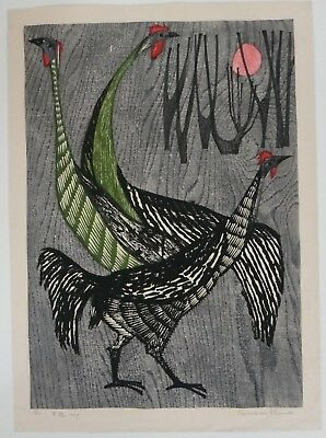 "Shima Tamami ""Gunkei, Fighting Cocks""  Woodblock. Pencil Signed, Dated 1959."
