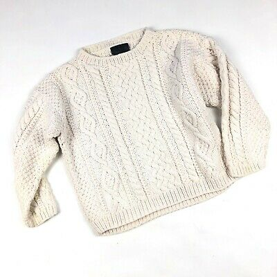 VINTAGE Kids Ivory knit cable sweater, Size 4Y, as-is Unisex kids sweater