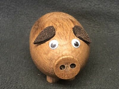 Wooden Animals, Solid English Oak Hand Turned Wooden Animals, PIGGY.