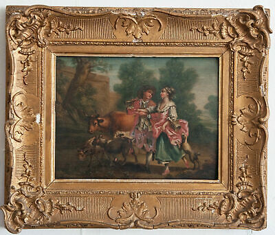 """Pastoral Scene"" Fabulous Antique 19th Century French Oil on Board Painting."