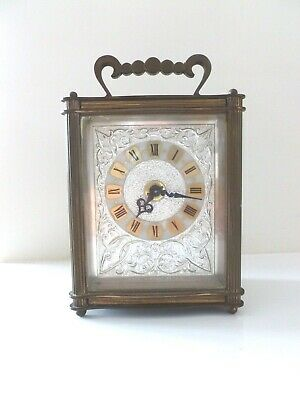 "Charming vintage antique brass carriage clock ""Louis"" ornate face working"