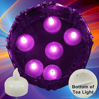 NEW 6 Pink Led Floating Floral Tea Light Candle for Wedding Centerpiece Decor