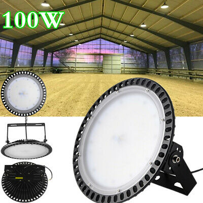 Ultra Slim UFO LED High Bay Light 100W Warehouse Factory Gym Lamp Cool White UK