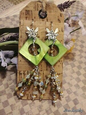 Statement Earrings Fairy Charms Natural Stone Dangle Drop Crystal Handmade OOAK
