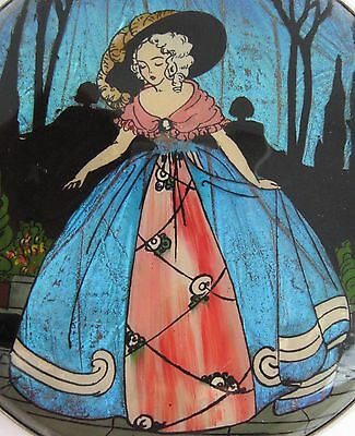Vintage BUTTERFLY Wing Gwenda Compact BLUE MORPHO Crinoline Lady Art Deco 1930's