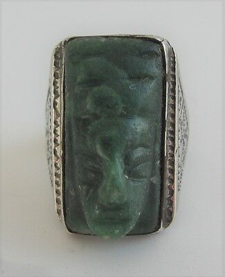 Mexican Jade Carved Green Onyx Mask Ring Sterling Aztec God Cameo Face Mexico