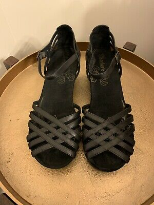 8014fbf0d2b6 COACH MERRIDITH BLACK Logo Suede Platform Wedge Sandals 9 1 2 M NEW ...
