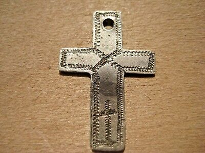 ANTIQUE Medieval Silver PENDANT CROSS 16 - 17 century AD
