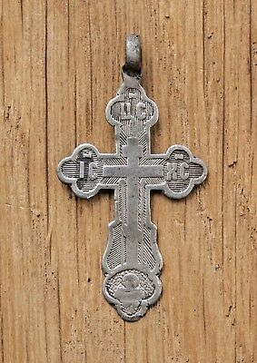19 century ANTIQUE RUSSIAN ORTHODOX CROSS SOLID SILVER 84