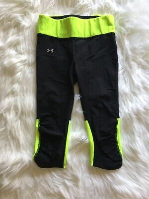 Under Armour Youth Girls Small Leggings Cropped Black And Neon Zipper Pocket