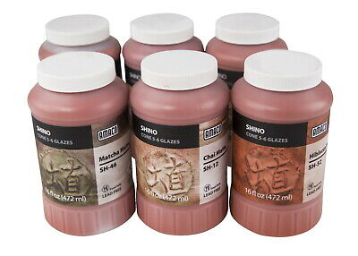 AMACO Shino Glaze Glossy Classroom Pack 1, Assorted Colors, Set of 6 Pints