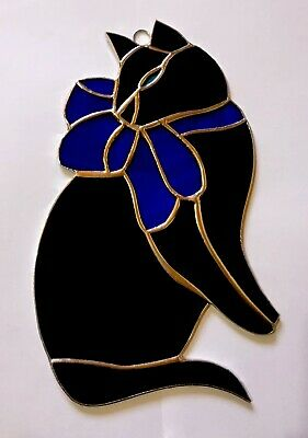 Black Cat with Navi Blue - 7'' x 5'' inches - Handmade Stained Glass Sun catcher