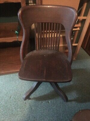 Antique Oak Mission style Swivel Chair Industrial Bankers Desk Office school