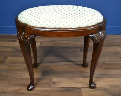Antique / Victorian Queen Anne Style Walnut Stool Circa 1890