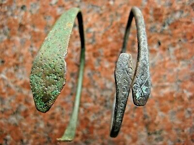 Ancient Celtic Bronze Bracelet Head of Snake with Solar Sign 5-7 century AD