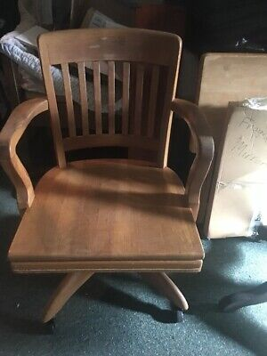 Vintage WOOD OFFICE CHAIR swivel desk industrial Banker Lawyer arm loft wooden